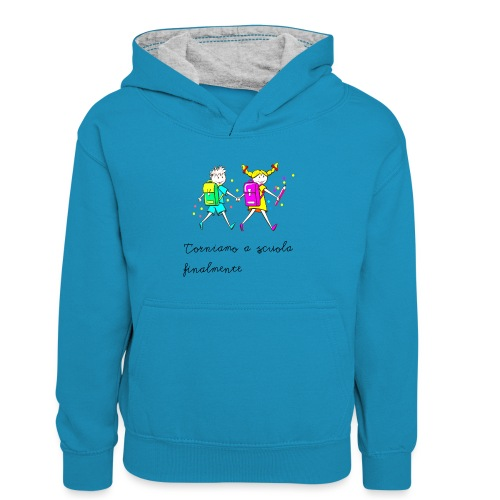 Bambini ritorno a scuola - Felpa con cappuccio in contrasto cromatico per bambini