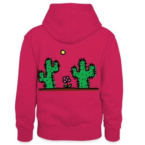 Cactus - Felpa con cappuccio in contrasto cromatico per bambini