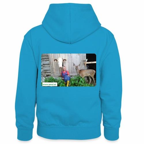 SenSi ♥ Hilfsprojekt für Kühe - Kinder Kontrast-Hoodie