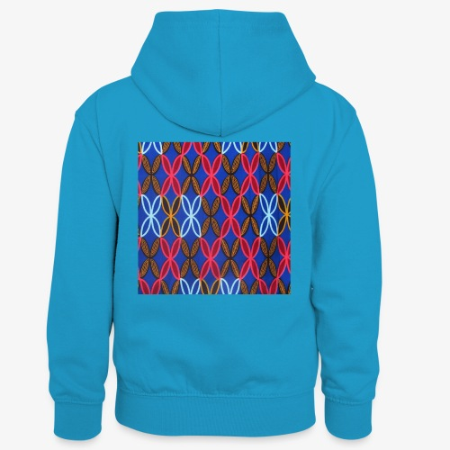 Design motifs bleu rose orange marron - Sweat à capuche contrasté Enfant