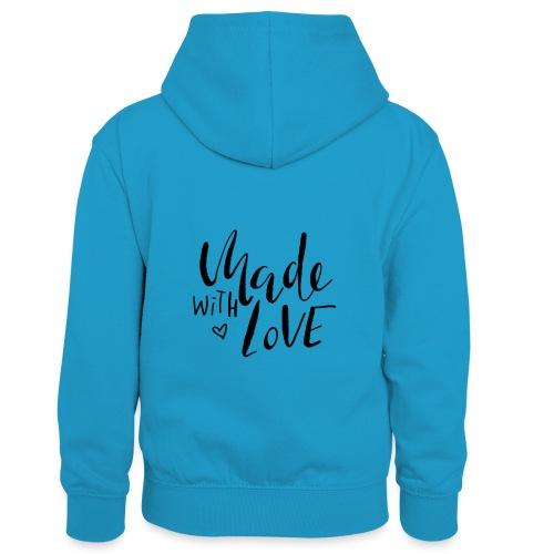 Made with Love - Kinder Kontrast-Hoodie