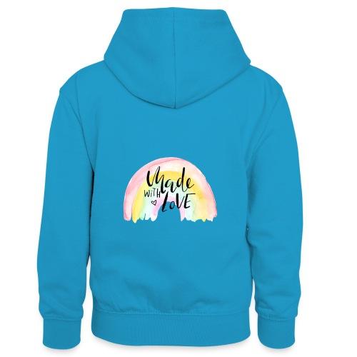 Made with Love Rainbow Baby - Kinder Kontrast-Hoodie