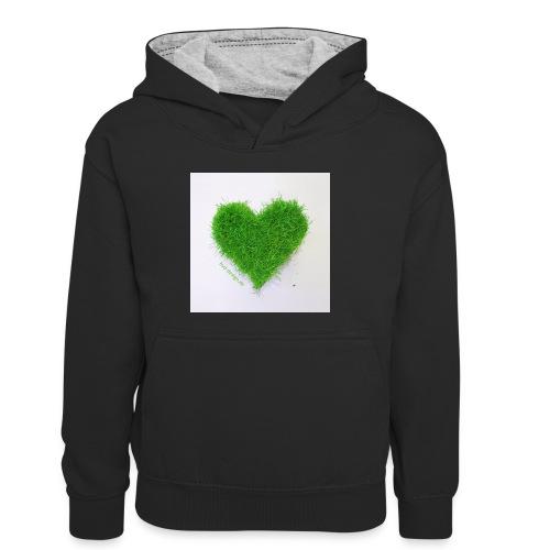 Herzrasen Button - Kinder Kontrast-Hoodie