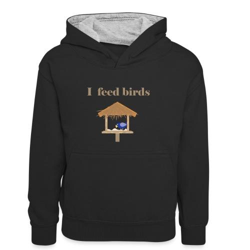 I feed birds - Lasten kontrastivärinen huppari