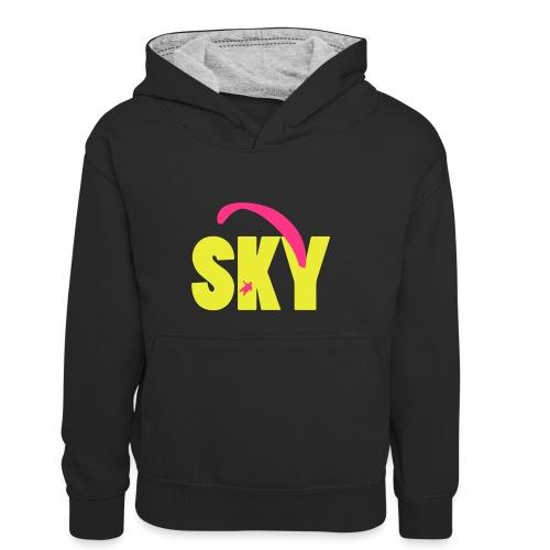 sky - Kinder Kontrast-Hoodie