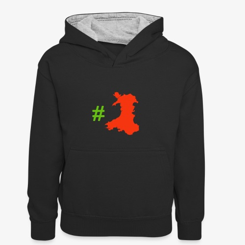 Hashtag Wales - Kids' Contrast Hoodie