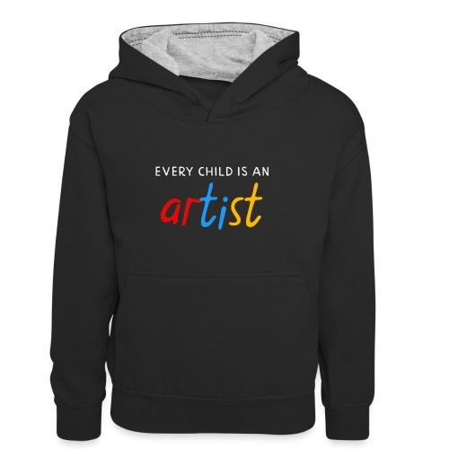 Every child is an artist - Teenager contrast-hoodie/kinderen contrast-hoodie