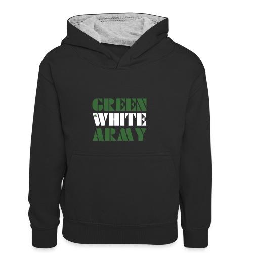 GREEN & WHITE ARMY _STENCIL_3 - Kids' Contrast Hoodie