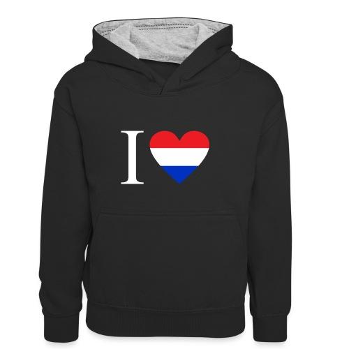 Ik hou van Nederland   Hart met rood wit blauw - Teenager contrast-hoodie/kinderen contrast-hoodie