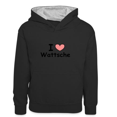 I love Wattsche - Kinder Kontrast-Hoodie