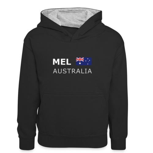 MEL AUSTRALIA white-lettered 400 dpi - Kids' Contrast Hoodie