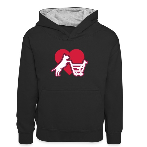 Shopping Bullterrier LOVE 3c - Kinder Kontrast-Hoodie