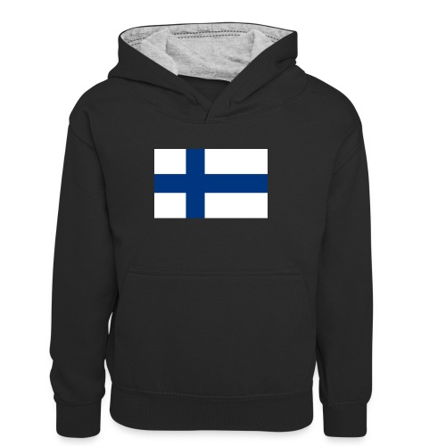 800pxflag of finlandsvg - Lasten kontrastivärinen huppari