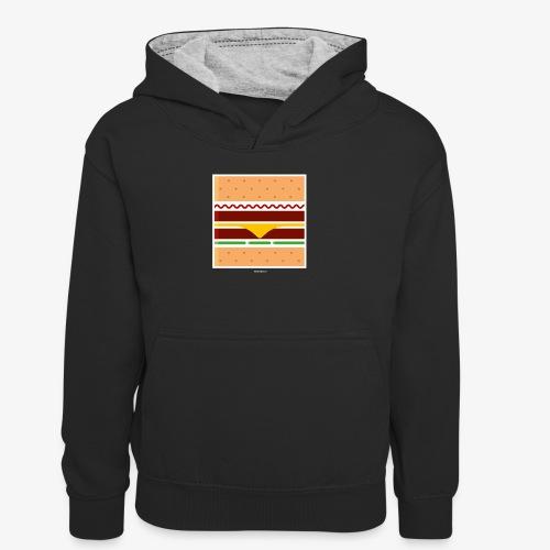 Square Burger - Felpa con cappuccio in contrasto cromatico per bambini