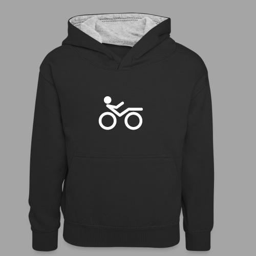 Recumbent bike white 2 - Lasten kontrastivärinen huppari