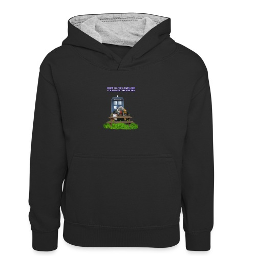TIME AND SPACE AND TEA - Kids' Contrast Hoodie