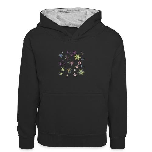 flowers and butterflies - Felpa con cappuccio in contrasto cromatico per bambini