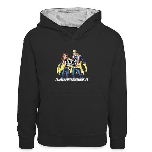 Superhelden & Logo - Kinder Kontrast-Hoodie