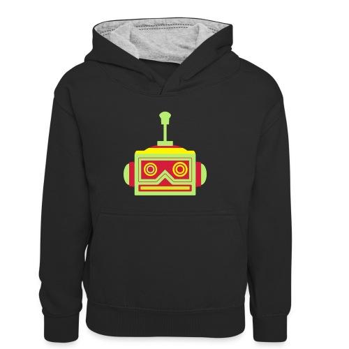 Robot head - Kids' Contrast Hoodie
