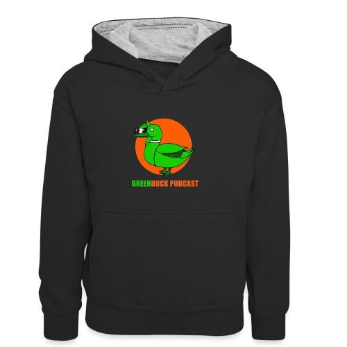 Greenduck Podcast Logo - Kontrasthoodie børn