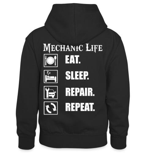 Das Leben als Mechaniker ist hart! Witziges Design - Kinder Kontrast-Hoodie