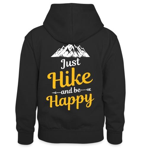 Just Hike And Be Happy Nature-Design für Hiking - Kinder Kontrast-Hoodie