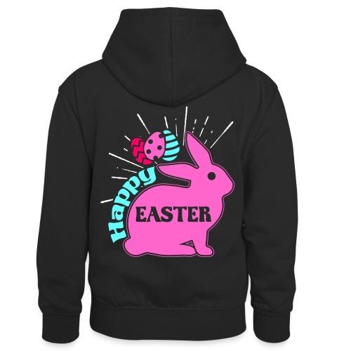 Happy Easter - Frohe Ostern - Kinder Kontrast-Hoodie
