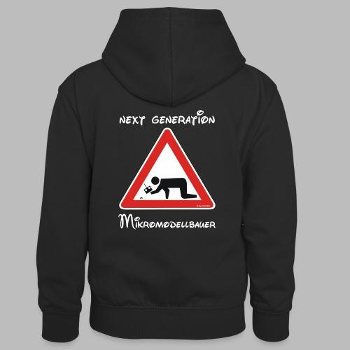 Warnschild Mikromodellbauer Next Generation - Kinder Kontrast-Hoodie