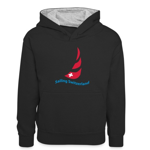 logo sailing switzerland - Kinder Kontrast-Hoodie