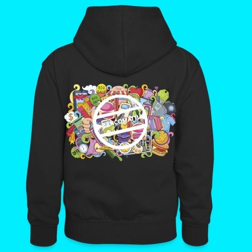 maglia logo doodle - Felpa con cappuccio in contrasto cromatico per bambini