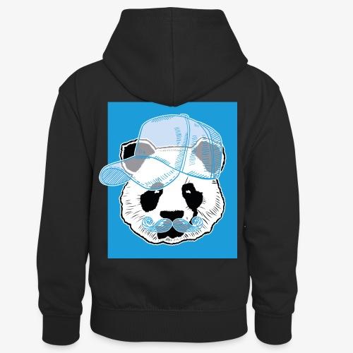 Panda - Cap - Mustache - Kinder Kontrast-Hoodie