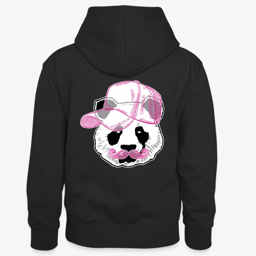 Panda - Pink - Cap - Mustache - Kinder Kontrast-Hoodie
