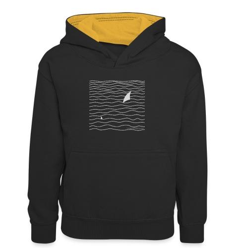 Windsurfer & Shark (white) - Kinder Kontrast-Hoodie