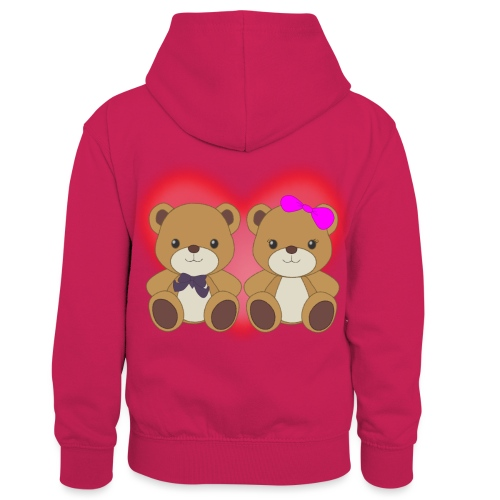 Orsetti con cuore - Felpa con cappuccio in contrasto cromatico per bambini