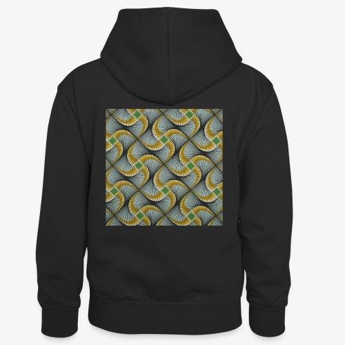 Design motif jaune vert gris - Sweat à capuche contrasté Enfant