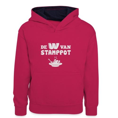 De W van Stamppot - Teenager contrast-hoodie/kinderen contrast-hoodie