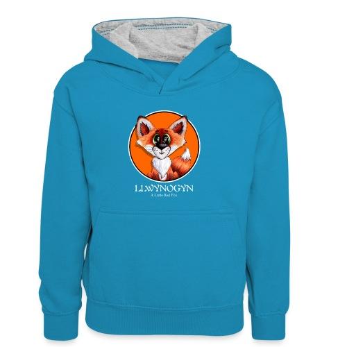 llwynogyn - a little red fox (white) - Lasten kontrastivärinen huppari