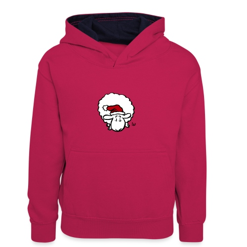 Weihnachtsschaf (rot) - Kinder Kontrast-Hoodie