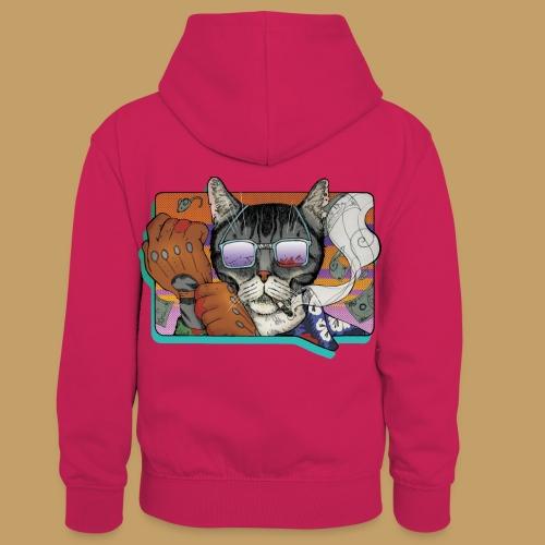 Crime Cat in Shades - Dziecięca bluza z kontrastowym kapturem