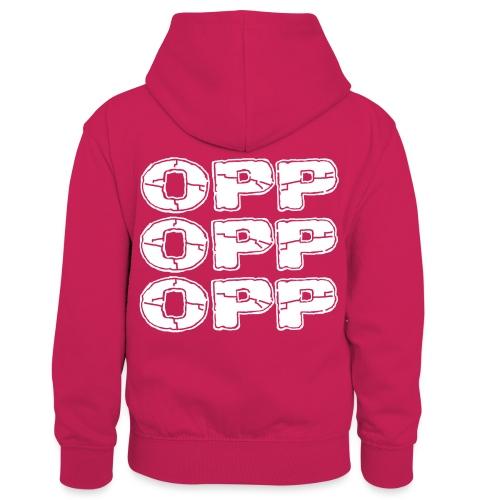 OPP Logo White - Lasten kontrastivärinen huppari