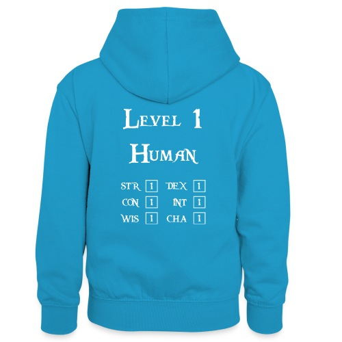Level 1 Human - Wit - Teenager contrast-hoodie/kinderen contrast-hoodie