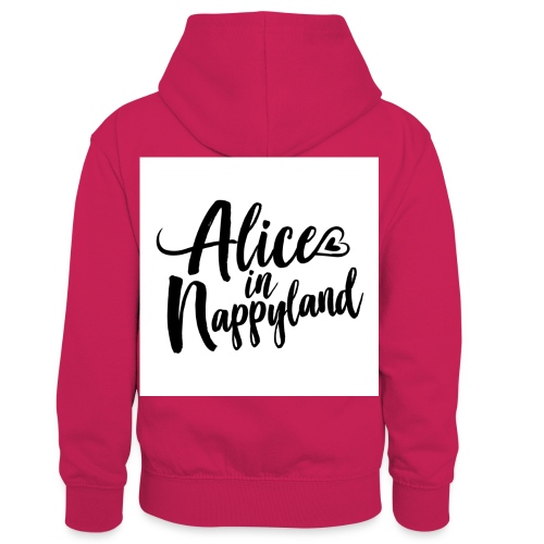 Alice in Nappyland Typography Black 1080 1 - Kids' Contrast Hoodie