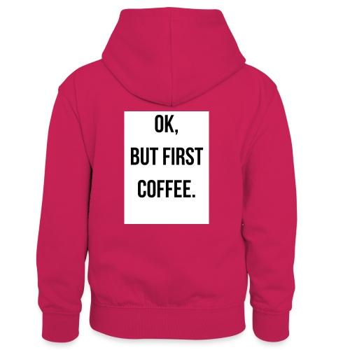 flat 800x800 075 fbut first coffee - Teenager contrast-hoodie/kinderen contrast-hoodie