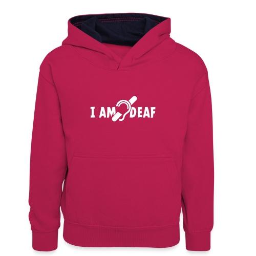 I am deaf. Ik hoor je niet. Doven, slechthorend - Teenager contrast-hoodie/kinderen contrast-hoodie