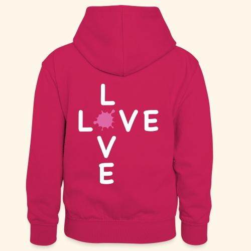 LOVE Cross white klecks pink 001 - Kinder Kontrast-Hoodie