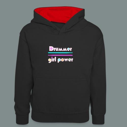 Drummer girlpower rose - idee cadeau batteur - Sweat à capuche contrasté Ado
