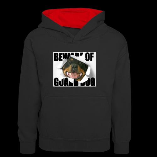 beware of guard dog - Teenager Contrast Hoodie