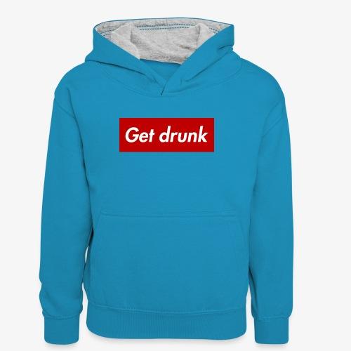 Get drunk - Teenager Kontrast-Hoodie