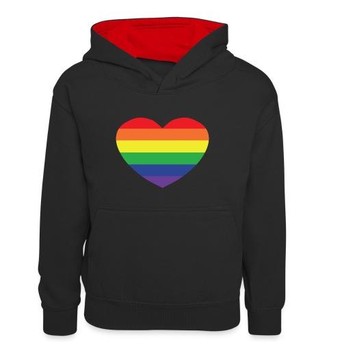 Rainbow heart - Teenager Contrast Hoodie