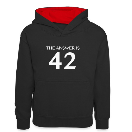 The Answer is 42 White - Teenager Contrast Hoodie